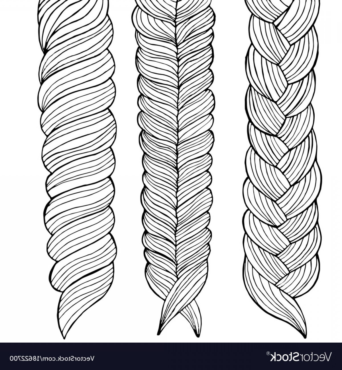 1200x1296 Drawing Of Three Braids Hairstyle Vector Shopatcloth