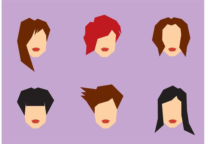 700x490 Free Women Hairstyle Vector Set