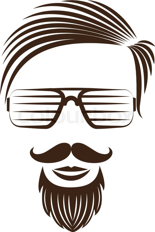 535x800 Hipster Fashion Man Hair , Vector Illustration Stock Vector
