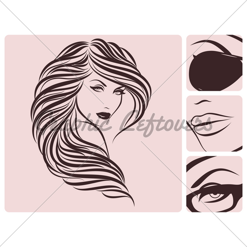 500x500 Long Curly Hairstyle Vector Illustration. Gl Stock Images