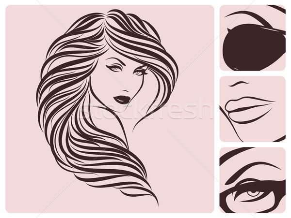 600x451 Long Curly Hairstyle Vector Illustration. Vector Illustration