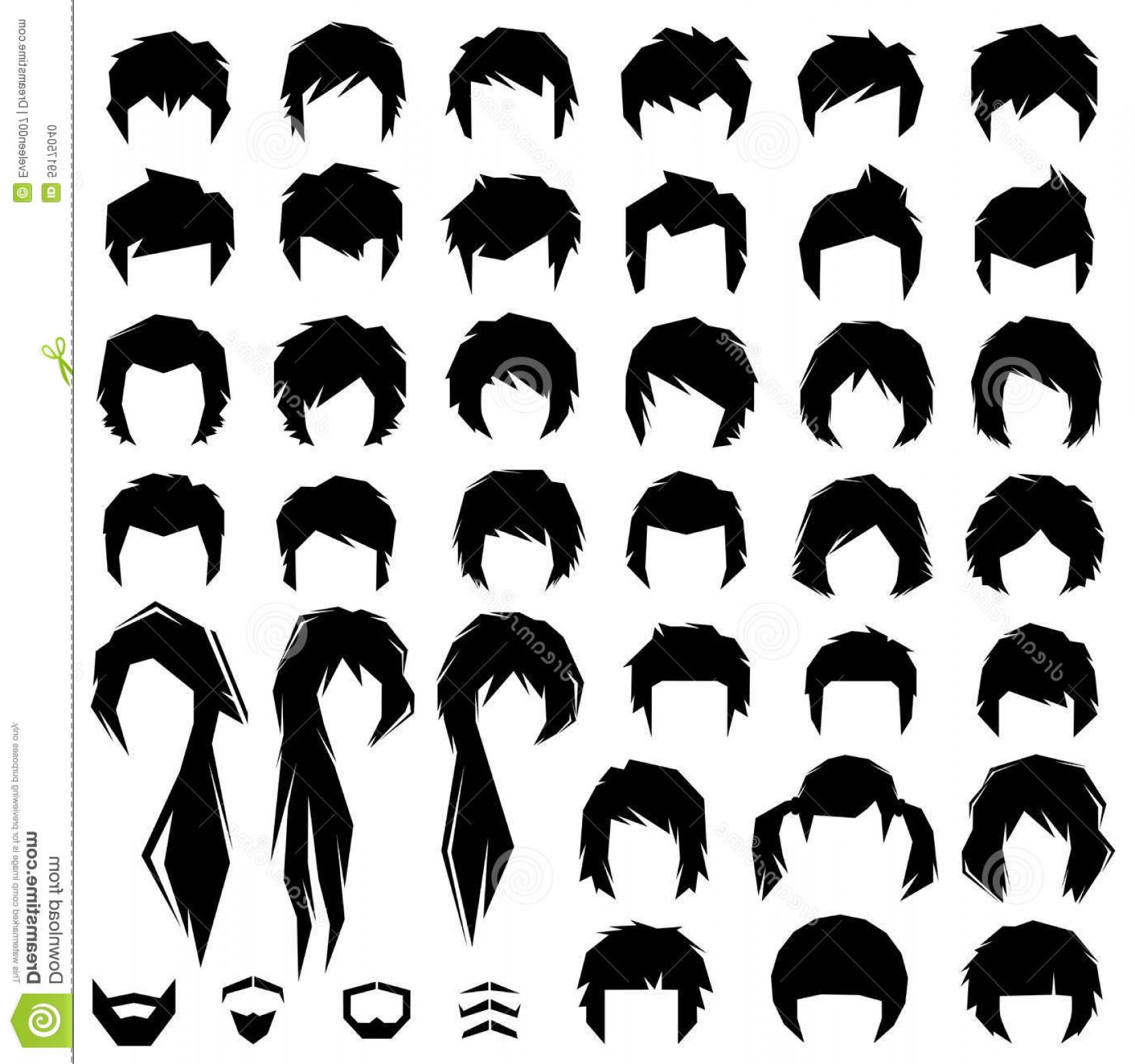 1665x1560 Stock Illustration Hair Vector Hairstyle Woman Man Silhouette