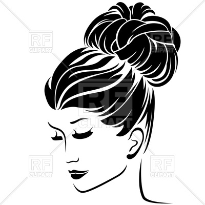 400x400 Beautiful Fashion Woman With High Bun Hairstyle Vector Image