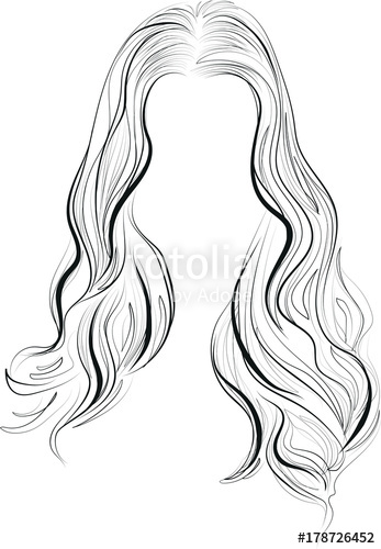347x500 Beautiful Woman Long Wavy Hair Hairstyle Vector Illustration