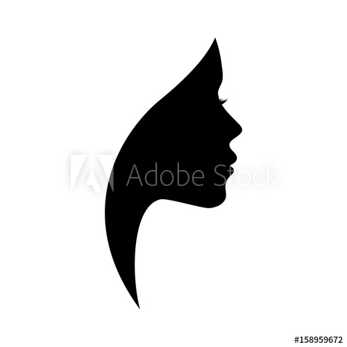 500x500 Beautiful Woman Profile Silhouettes With Elegant Hairstyle, Vector