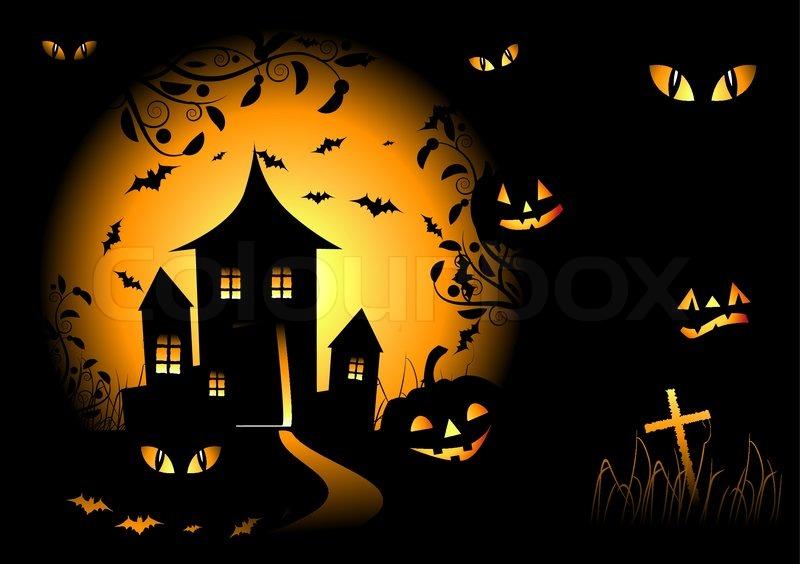 800x564 Halloween Night Background, Vector Illustration Stock Vector