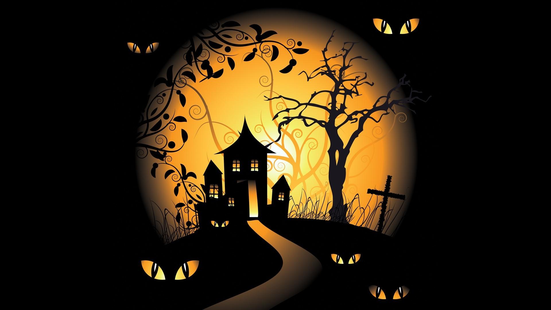 1920x1080 Halloween Spooky Digital Art Bats Black Background Vector