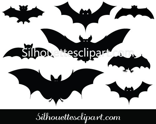 500x400 Halloween Bat Silhouette Vector Pack Halloween Vector Graphics