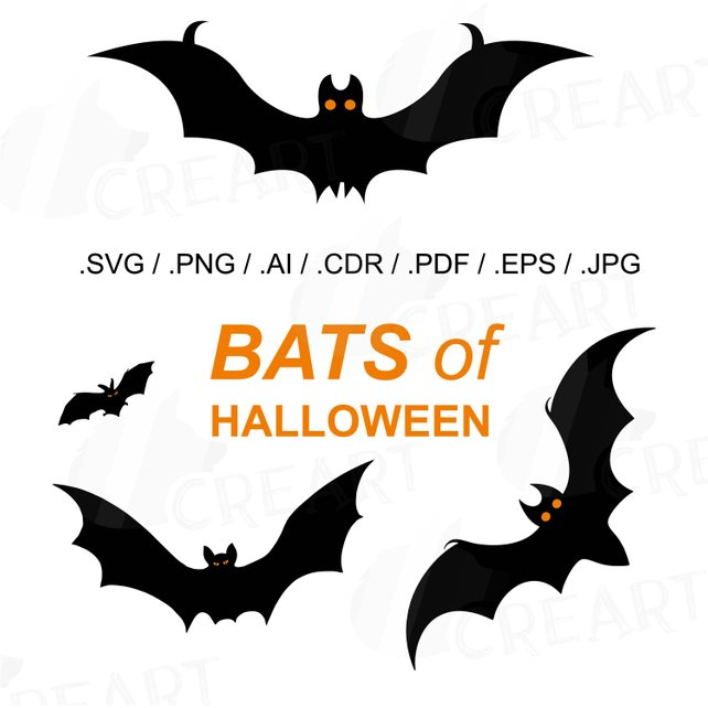 642x642 Halloween Bats Silhouettes Clipart Vectors For Commercial Or Etsy
