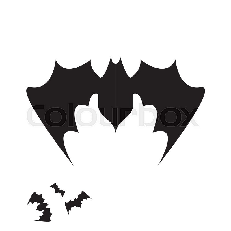 800x800 Vector Halloween Bat Icon. Vector Bat Silhouette Isolated On White