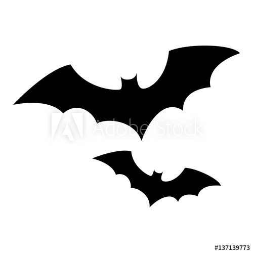 500x500 Monochrome Background Halloween With Bat Vector Illustration