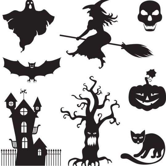 539x539 Halloween Silhouette With Witches Vector Free Download