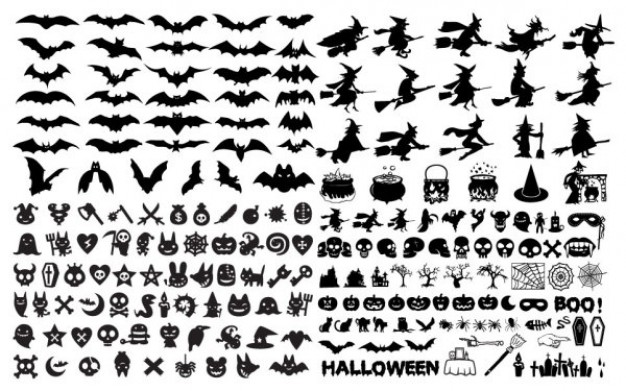626x391 Variety Of Halloween Elements With White Background Download