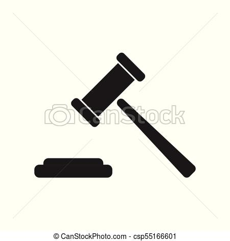 450x470 Auction Hammer Vector Icon. Court Tribunal Flat Icon.