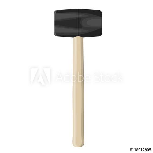 500x500 Rubber Mallet Hammer. Vector Illustration