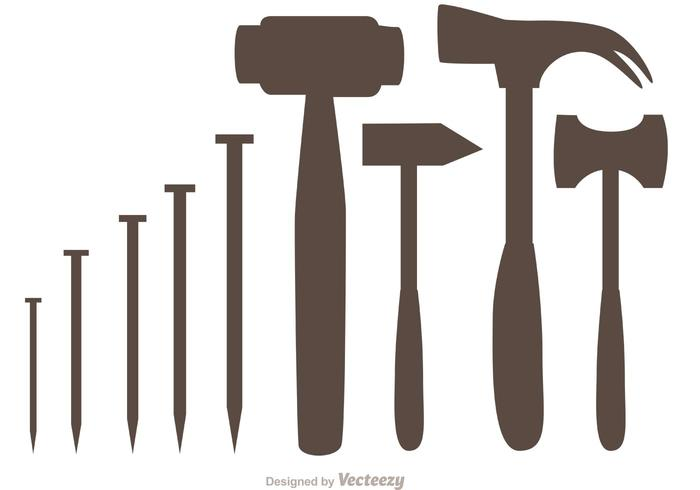 700x490 Silhouette Hammer And Nail Icons Vector Pack