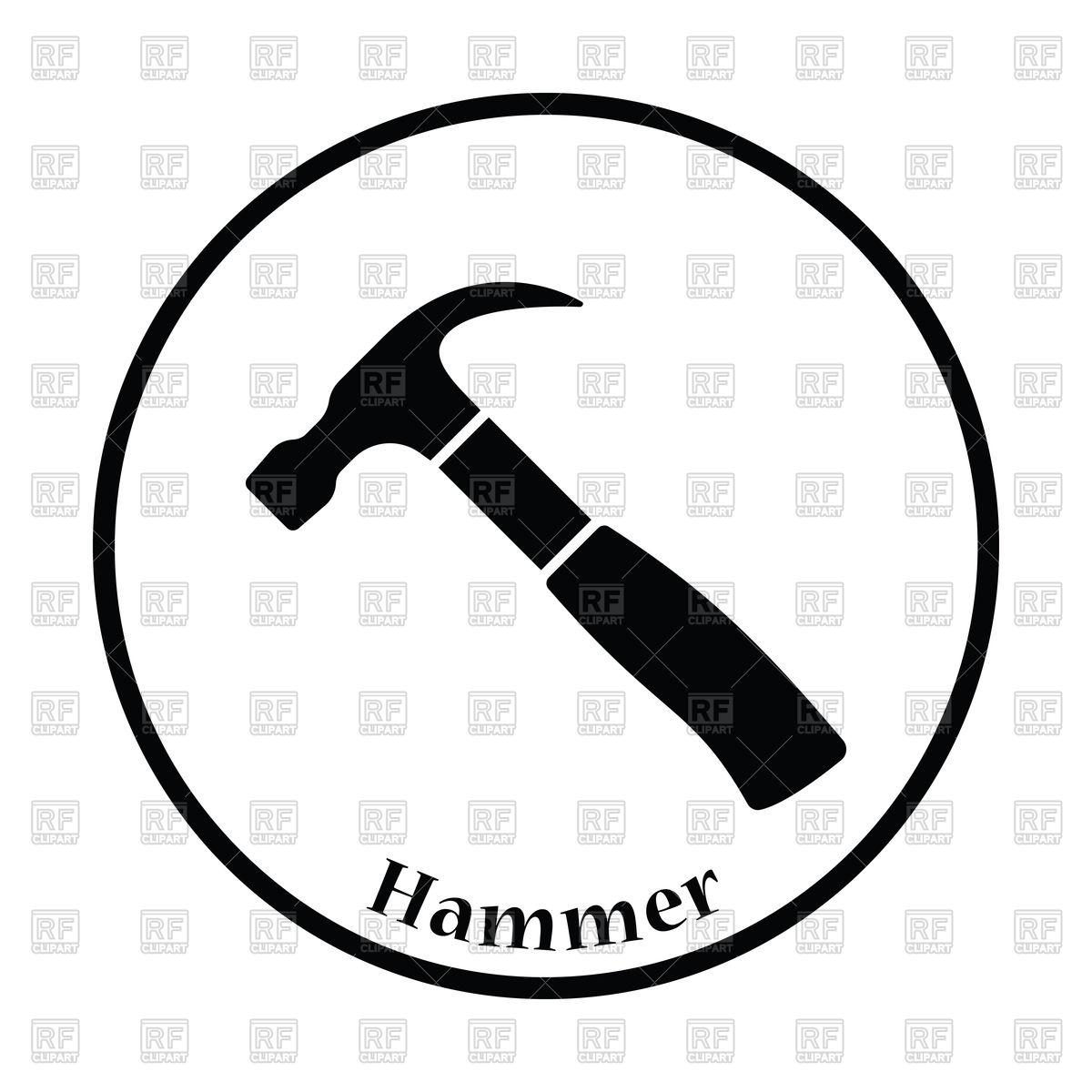 1200x1200 Thin Circle Design Icon Of Hammer Vector Image Vector Artwork Of
