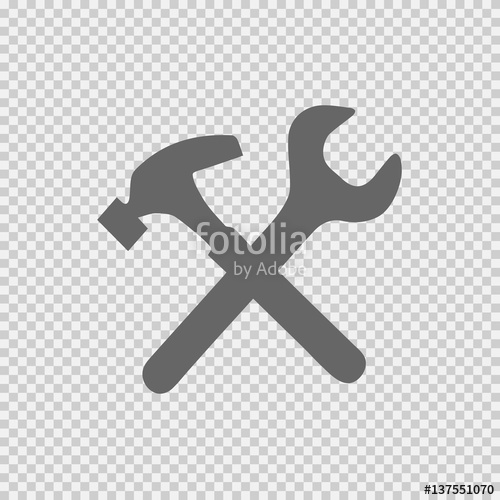 500x500 Wrench And Hammer Vector Icon On Transparent Background. Handyman