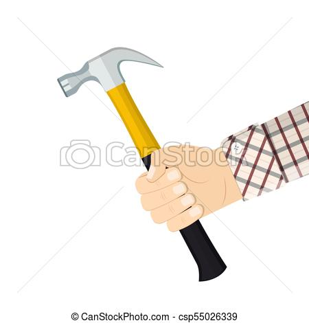 450x470 Hand Holding Hammer. Vector Illustration In Flat Style.