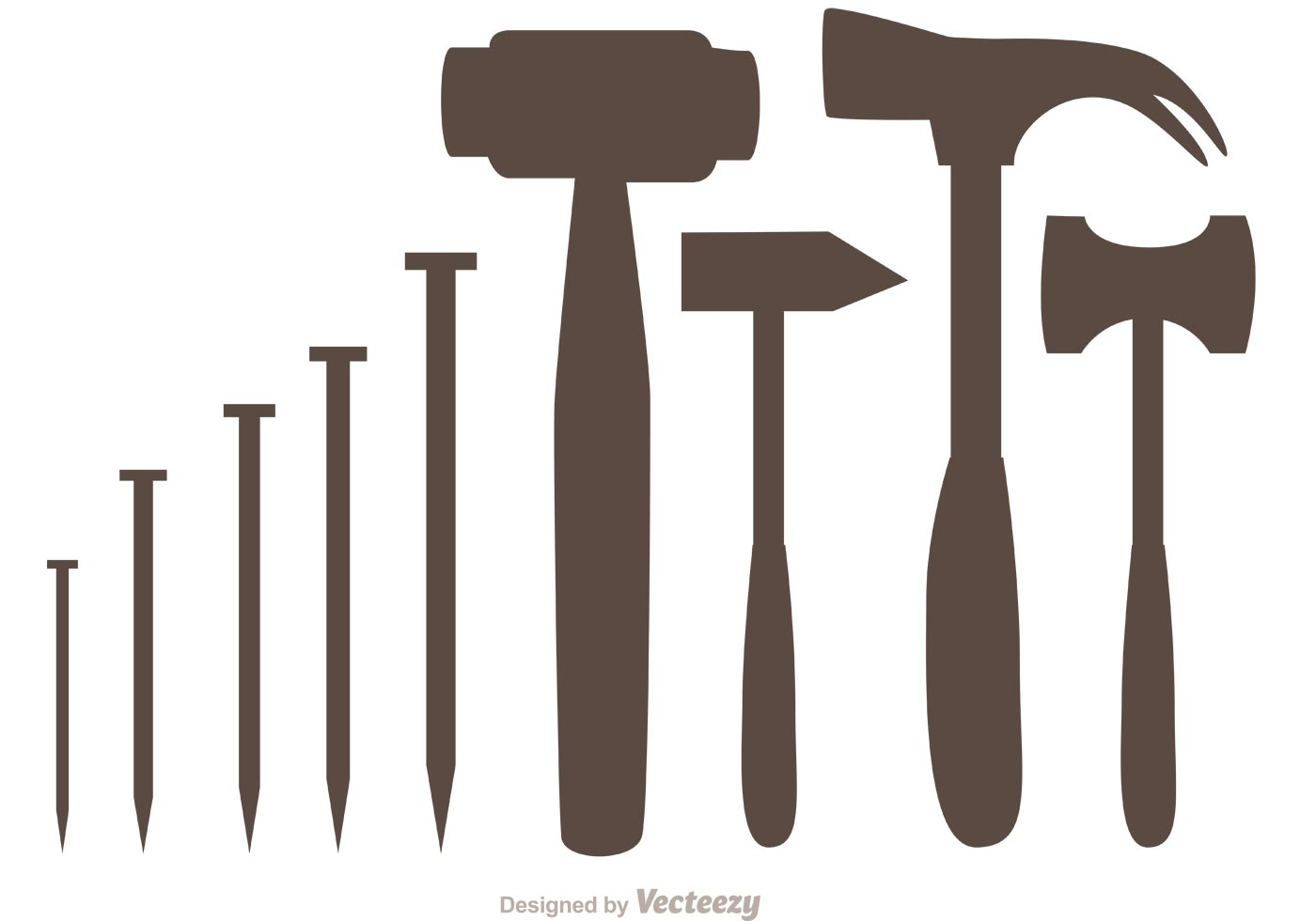 1400x980 Silhouette Hammer And Nail Icons Vector Pack