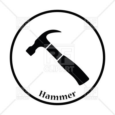 400x400 Thin Circle Design Icon Of Hammer Vector Image Vector Artwork Of