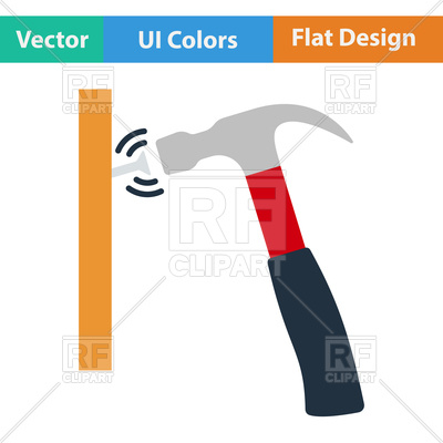 400x400 Flat Design Icon Of Hammer Beat To Nail In Ui Colors Vector Image