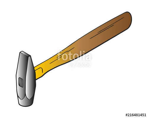 500x400 Hammer Vector Flat Icon. Construction Working Tool Item. Flat Logo