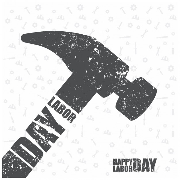 626x626 Grunge Labor Day Background With A Flat Hammer Vector Free Download