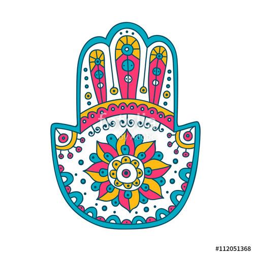 500x500 Doodle Hamsa. Vector Hand Drawn Hamsa With Doodle Ornament. Amulet