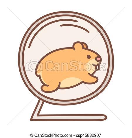 450x470 Cute Hamster Running In Wheel. Cute Cartoon Hamster Running In