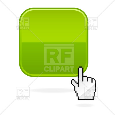 400x400 Blank Square Glossy Button With Hand Cursor Vector Image Vector