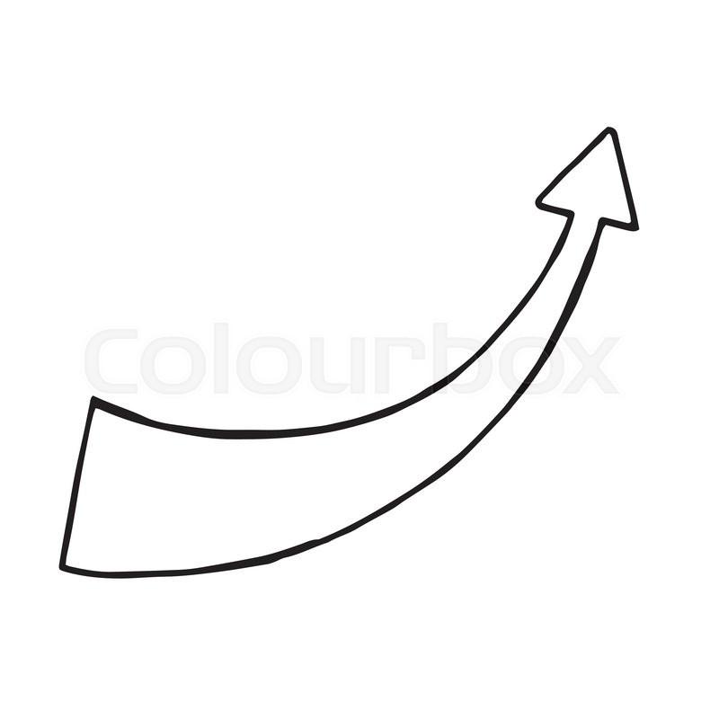 800x800 Hand Drawn Arrow, Vector Doodle Objec. Isolated Sign Stock