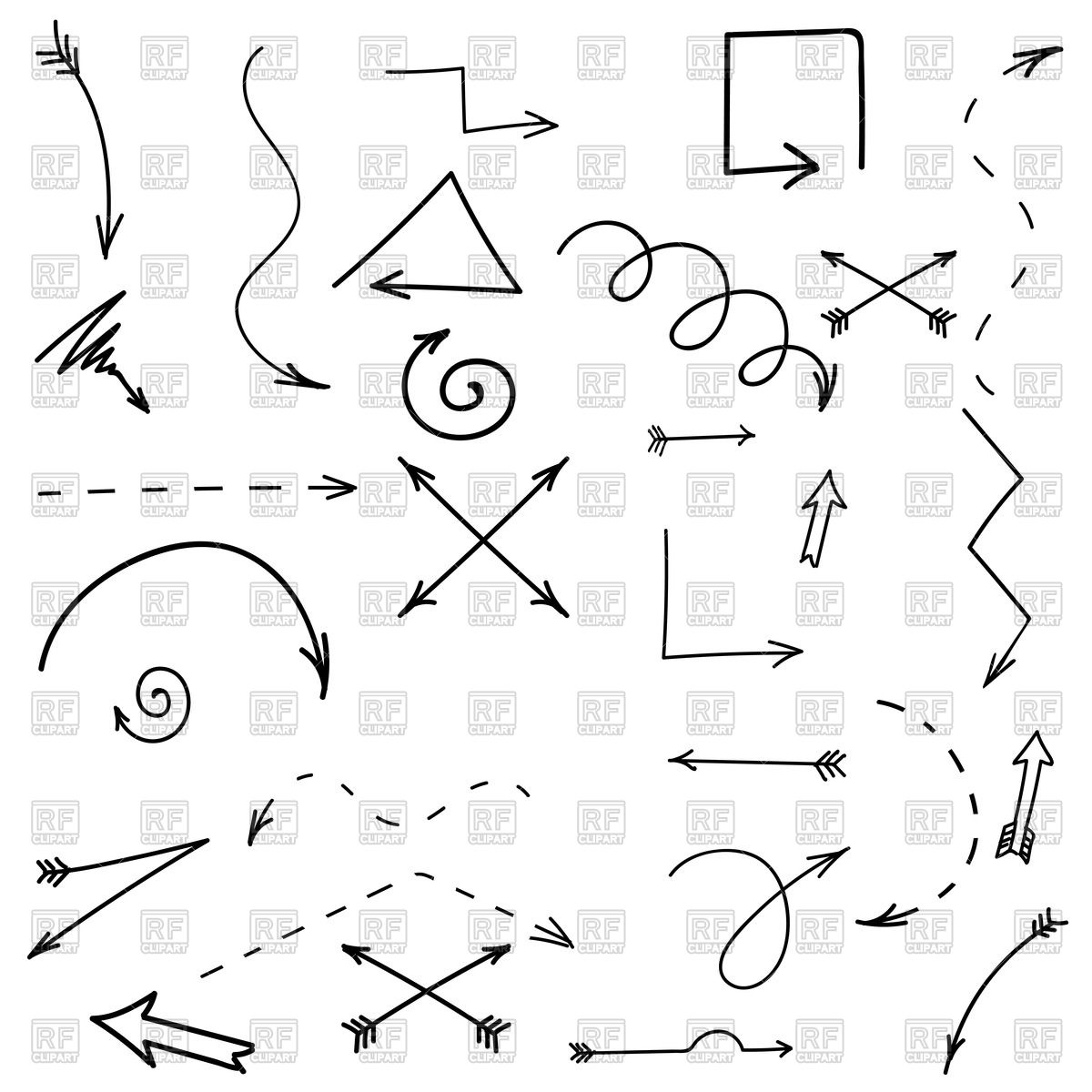 1200x1200 Set Of Hand Drawn Arrows Vector Image Vector Artwork Of Objects