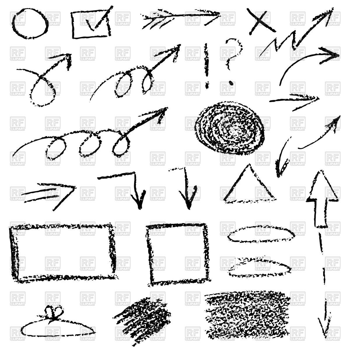 1200x1200 Set Of Hand Drawn Wax Crayon Arrows Vector Image Vector Artwork