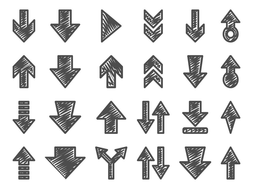 1024x765 Hand Drawn Arrow Set Vector Art Amp Graphics