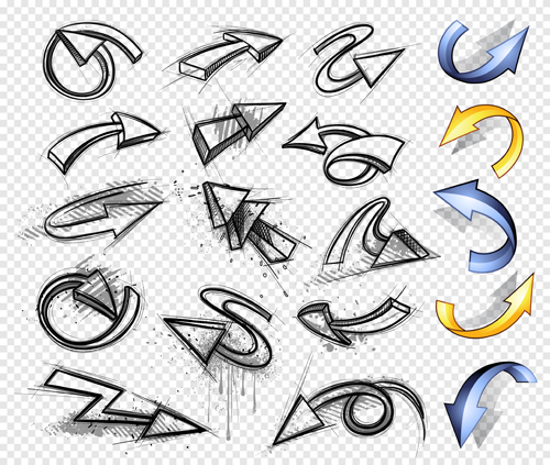 500x423 Hand Drawn Arrows Abstract Vector 02 Free Download