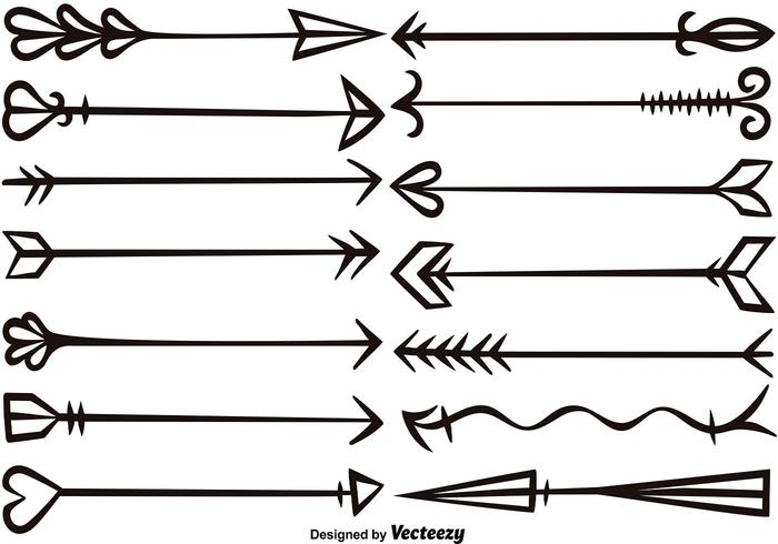 700x490 Vector Hand Drawn Arrows Set