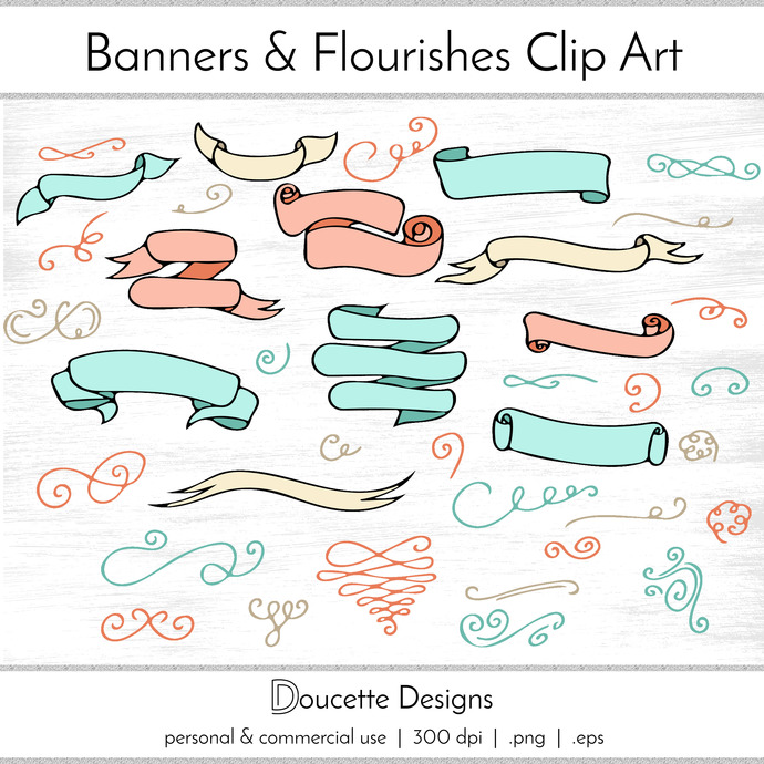 690x690 Hand Drawn Banners And Flourishes Doodles By Doucettedesigns On Zibbet