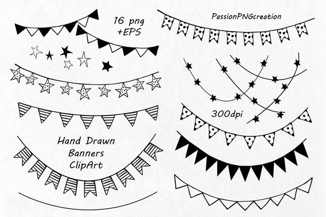 642x427 Hand Drawn Banners Clipart Banner Clip Art Png Eps Vector Etsy