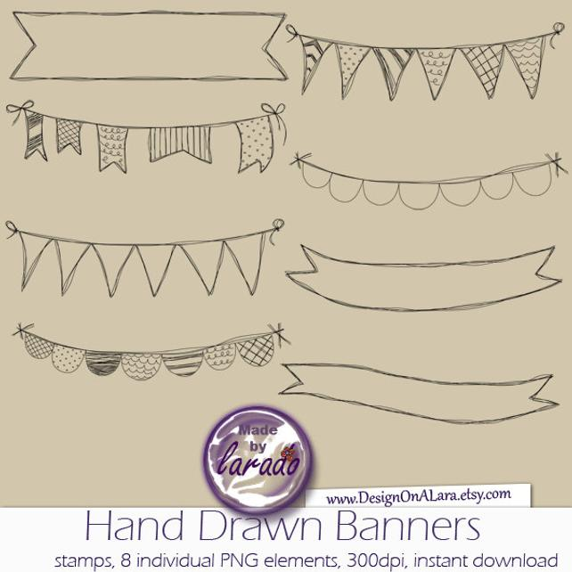 642x642 Hand Drawn Banners Clipart Banner Clip Art Vector Banner Etsy