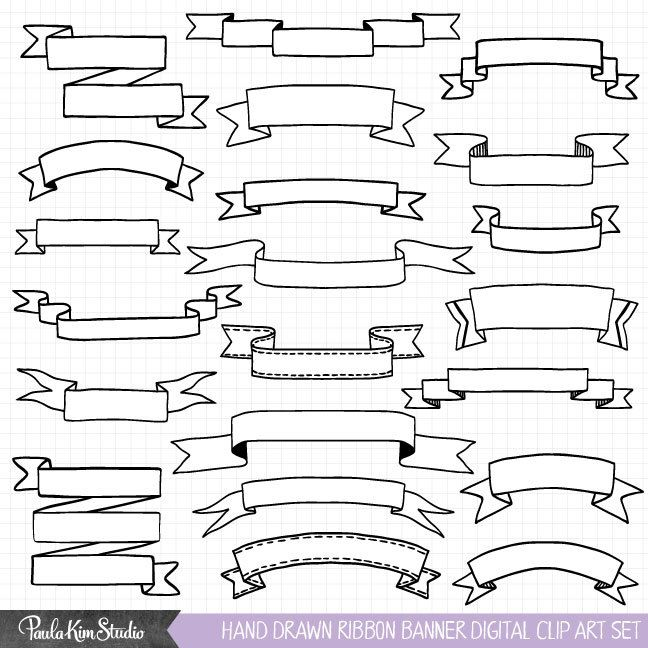 648x648 Hand Drawn Clipart, Ribbon Banner Clip Art, Commercial Use Vector