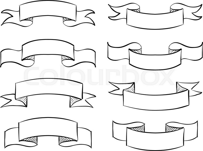 800x598 Hand Drawn Banner Scribble Vector Vintage Scroll Design Stock