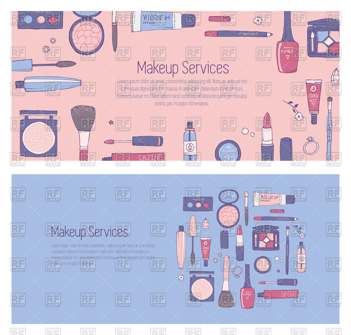 1200x1144 Hand Drawn Banner With Makeup And Cosmetics Vector Image Vector