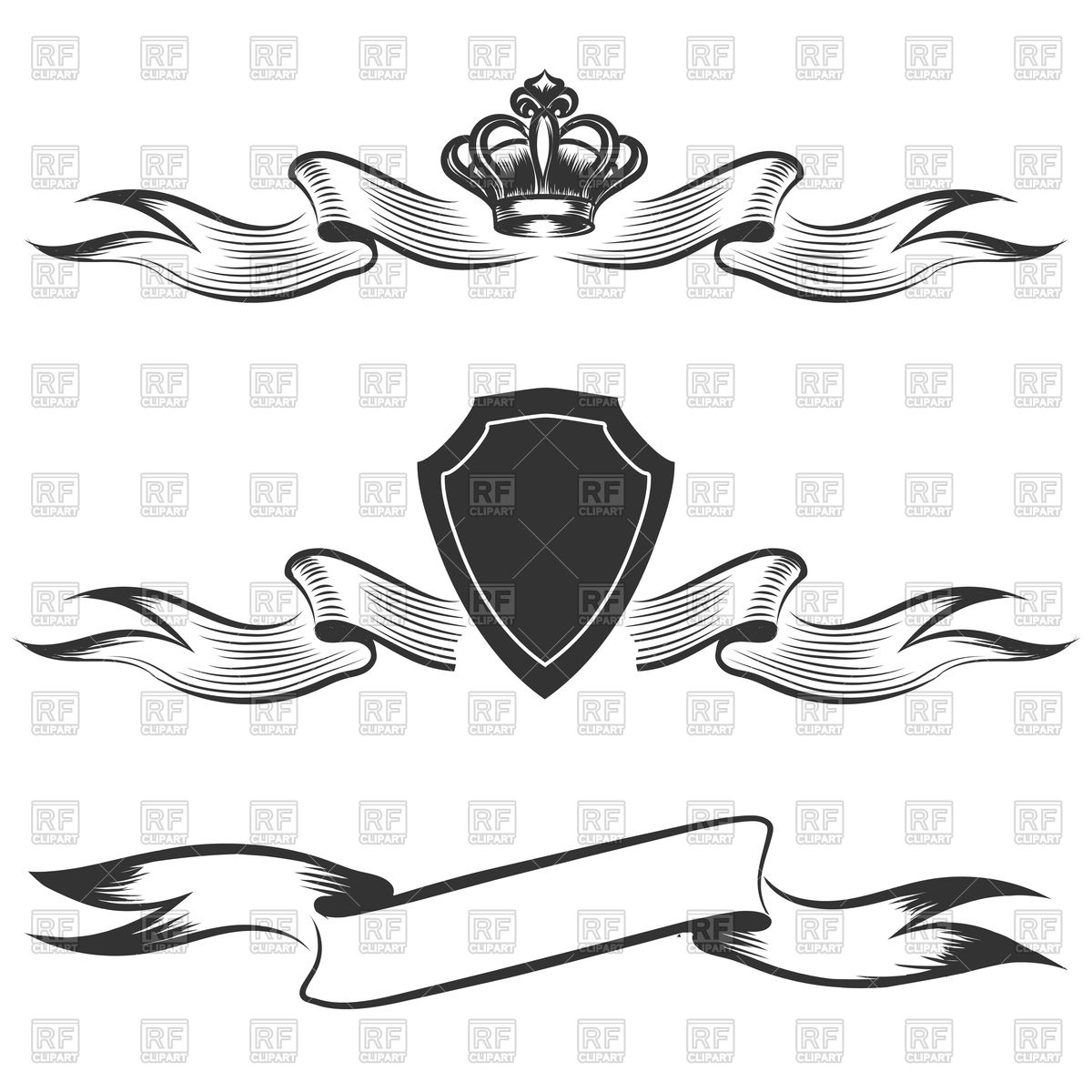 1200x1200 Hand Drawn Banners Set. Ribbon With Crown. Vector Image Vector