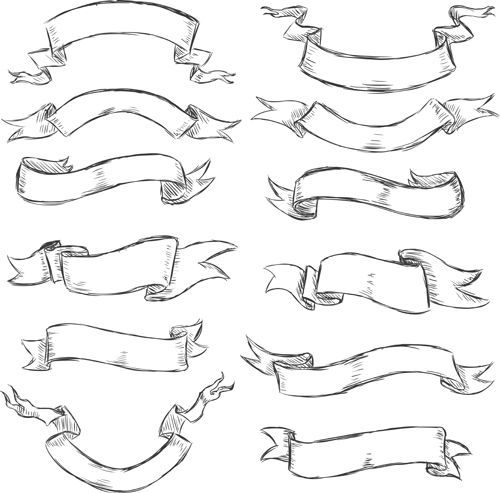 500x493 Hand Drawn Vintage Ribbon Benner Vector 07 Doodles And Sketch