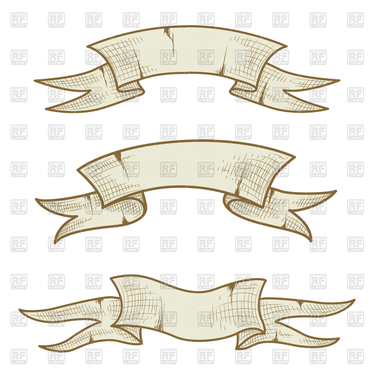 1200x1200 Vintage Hand Drawn Banners Vector Image Vector Artwork Of
