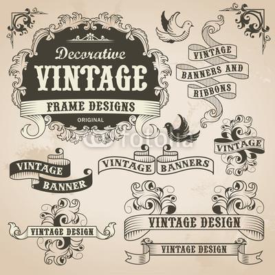 400x400 Vintage Retro Hand Drawn Banner Set