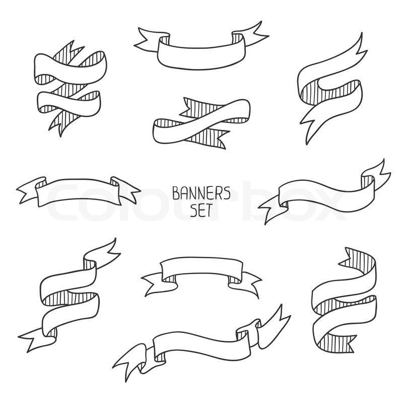 800x800 Vintage Ribbon Banners, Hand Drawn Set For Design. Vector