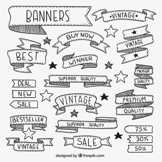 626x626 Free Hand Drawn Banner Vector 123freevectors