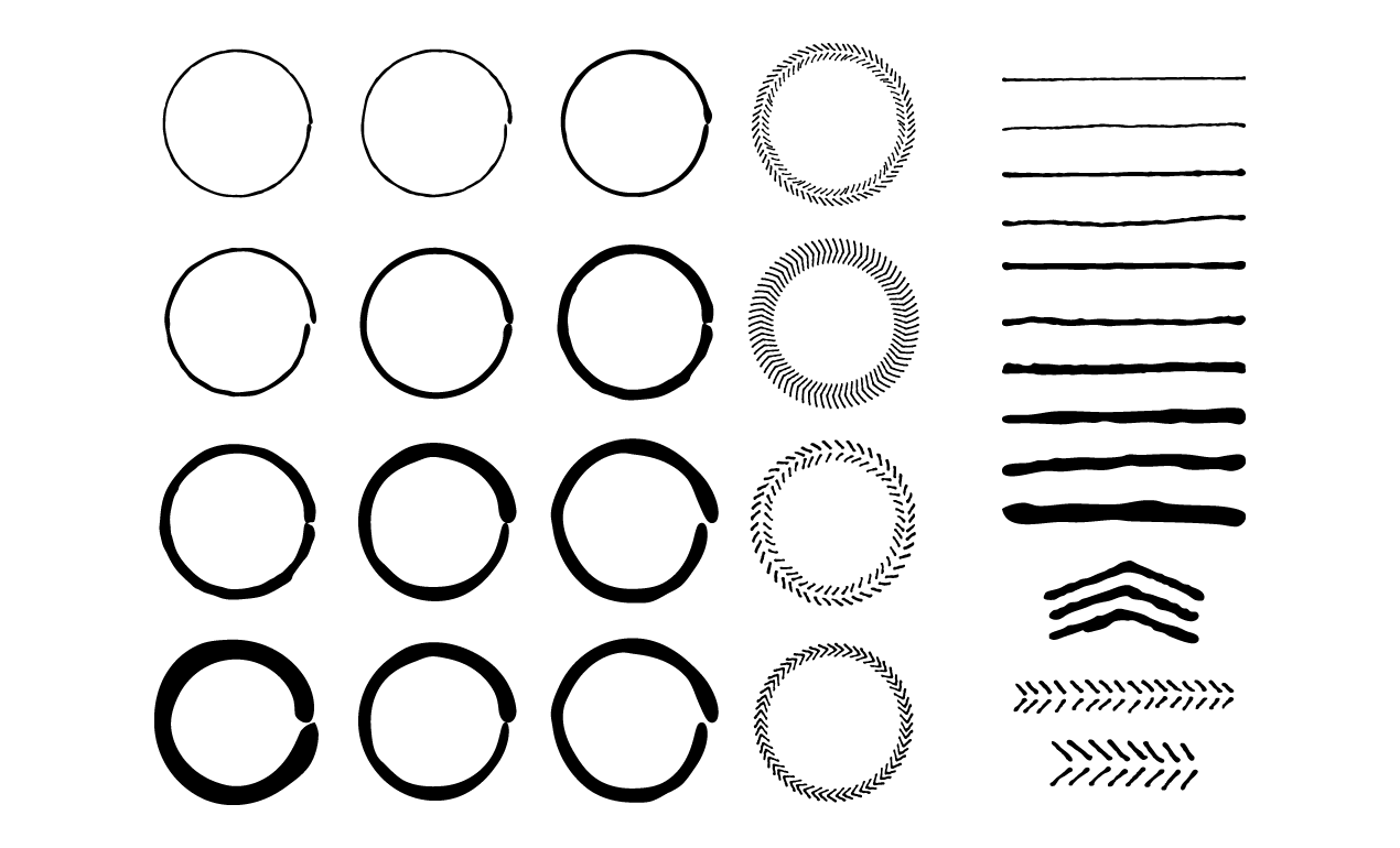1270x770 Hand Drawn Circles And Lines Vector Pack